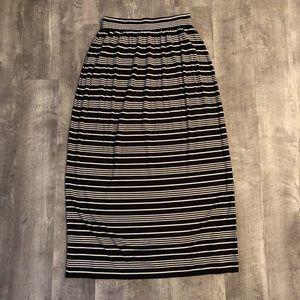 Loft black and white striped maxi skirt